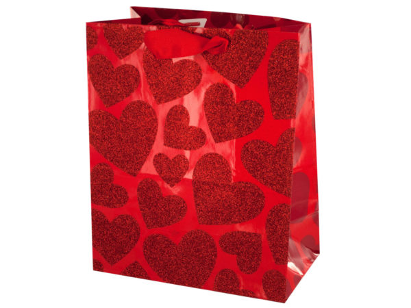 Wholesale Small Red Glitter Hearts Gift Bag Bulk Buys