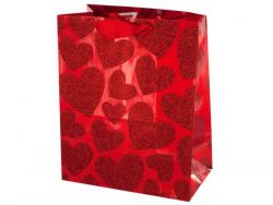 Wholesale Small Red Glitter Hearts Gift Bag