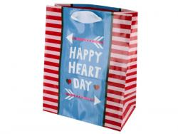 Wholesale Happy Heart Day Striped Gift Bag